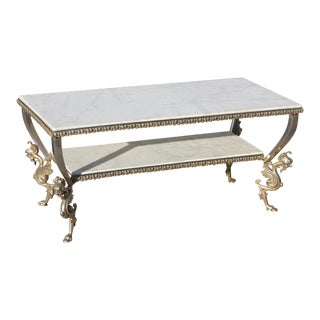 Maison Jansen Two-Tier Bronze '' Dragon Leg'' Coffee Table With Marble Top Circa 1940s.