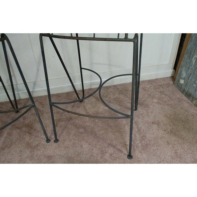 Mid Century Modern Wrought Iron Hairpin Bar Stools - A Pair - Image 7 of 11