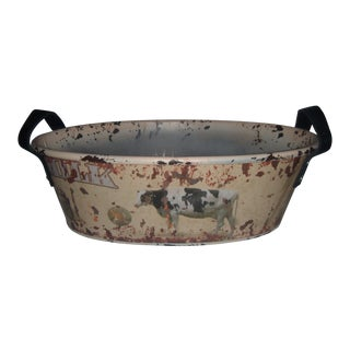 Decorative Milk Cow Container with Leather Handles