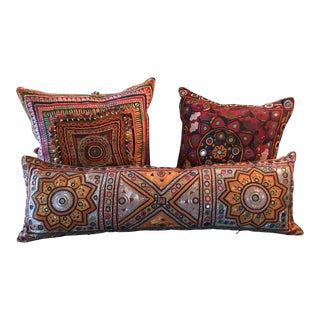 Vintage Indian Embroidered Mirrored Textile Pillows
