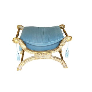 Giltwood Window Bench of Curule Form