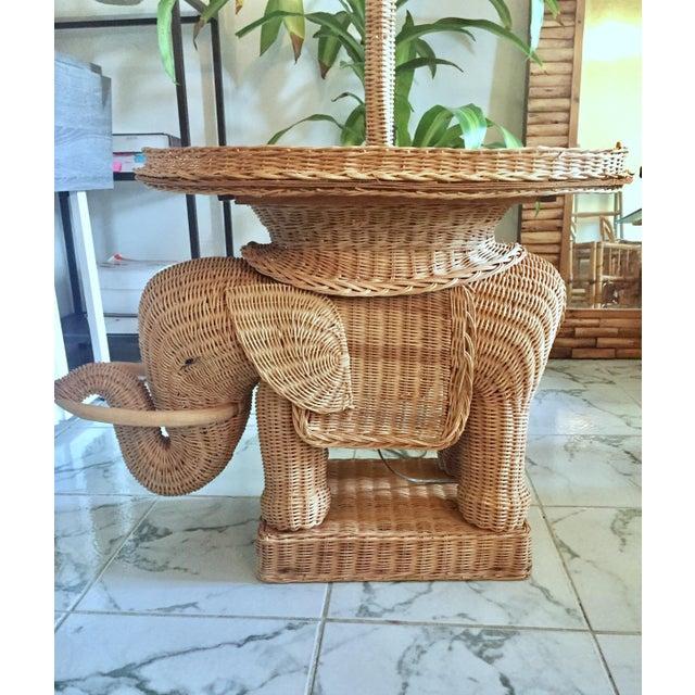 Hollywood Regency Wicker Elephant Table & Lamp - Image 3 of 11