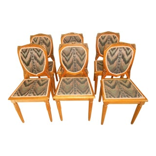 Hand-Carved Art Deco Tiger Oak Dining Chairs - Set of 6