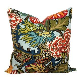 "20"" x 20"" Aquamarine Schumacher Chiang Mai Decorative Pillow Cover"