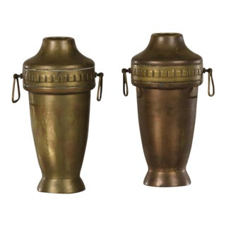 Pair of Antique French Copper and Brass Urns circa 1910
