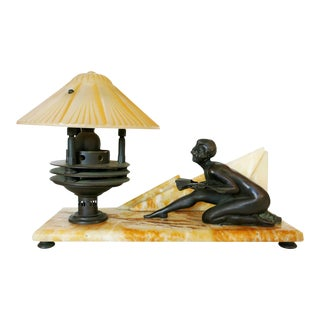 Art Deco Styled Italian Marble & Bronze Desk Lamp