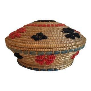 Vintage Woven Lidded Basket