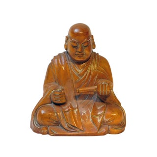 Wood Carved Lo Han Monk Statue In Deep Meditation Praying Position