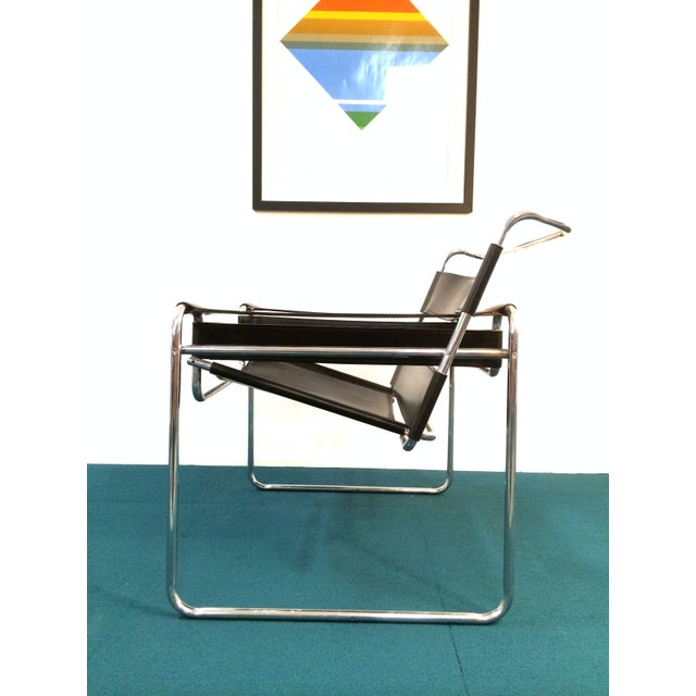 Wassily Style Chair in Black Leather and Chrome - Image 3 of 8