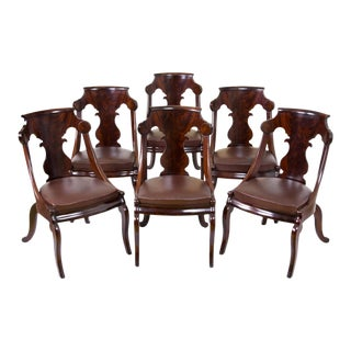 Set of Six Classical Stylized Gondola Dining Chairs with Lyre splats