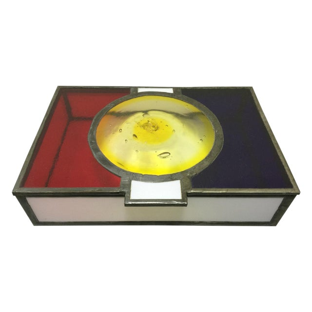Vintage Mondrian Colored Blown Glass Box - Image 1 of 9