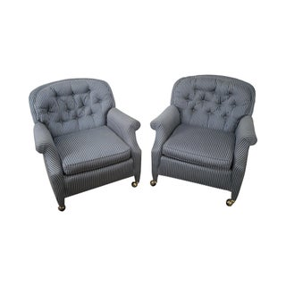 Blue Striped Upholstered Tufted Lounge Chairs - Pair