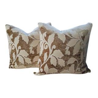 Donghia Tan & Cream Leaf Raised Velvet Pillows - a Pair