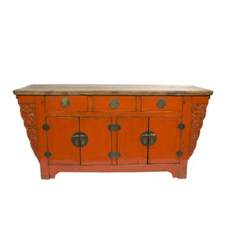 Orange Carved Cabinet