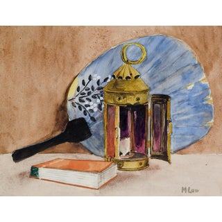 Still Life of Chinese Fan & Lantern Watercolor