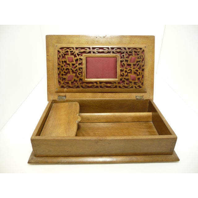 Antique Pierce Carved Wood Sewing Box - Image 3 of 6