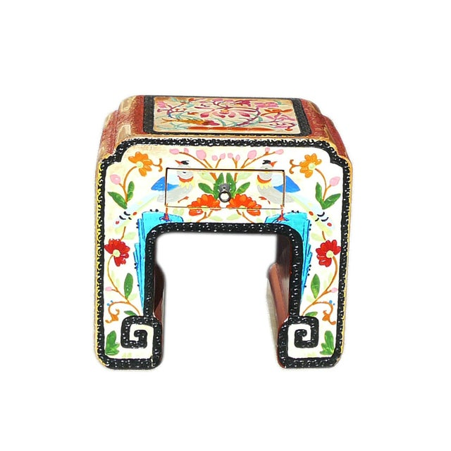 Chinese Off White Flower, Bird & Fish Stool - Image 2 of 6