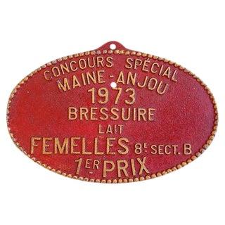 1973 Vintage French Maine-Anjou Trophy Award Plaque
