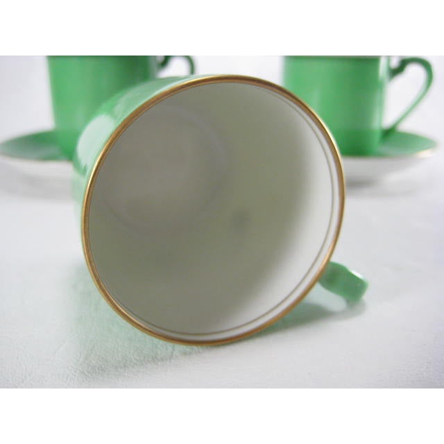 Image of Green Demitasse Cups & Saucers by Morimura - 8 Pieces