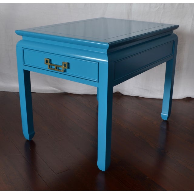 Image of Bright Blue Vintage Chinoiserie Side Table