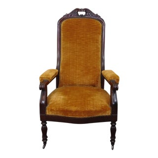 Antique Victorian Carved Mahogany Armchair