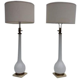 Italian White Opaline Murano Table Lamps - A Pair