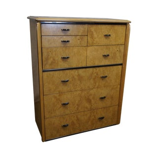 Lane Mid-Century Modern Burl Wood Tall Chest