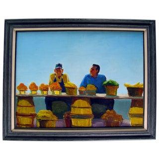 "B. Woosley ""Farmers Market"" Oil on Linen Painting"