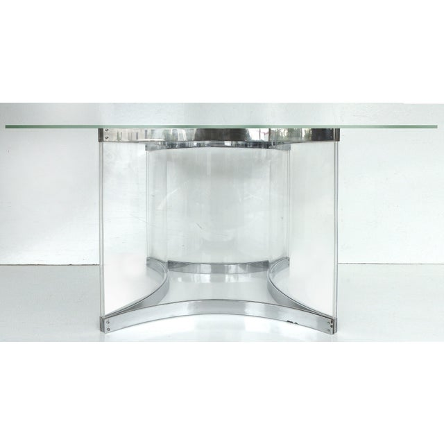 alessandro albrizzi chrome lucite dining table base chairish. Black Bedroom Furniture Sets. Home Design Ideas