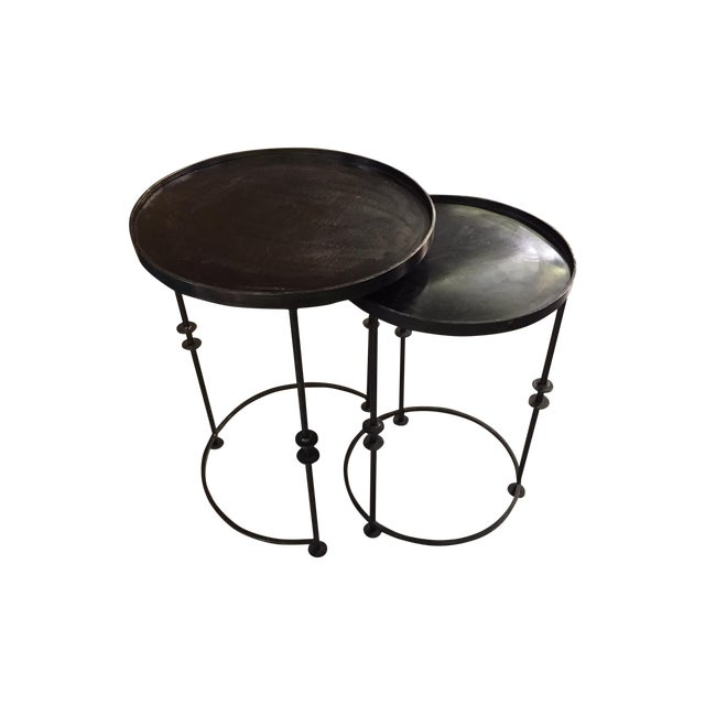 Image of Round Metal Nesting Side Tables - 2