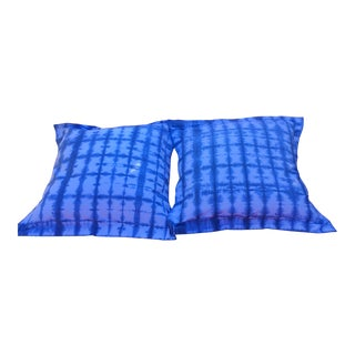 Hand Dyed Natural Indigo Shibori Euro Shams - Pair