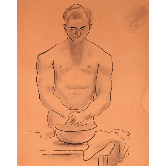 Image of Mid-Century Male Figure Drawing by H. Rennie