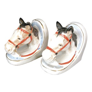 Horse Ceramic Bookends - A Pair