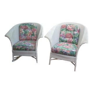 Contemporary Cottage Wicker Chair & Rocker - a Pair