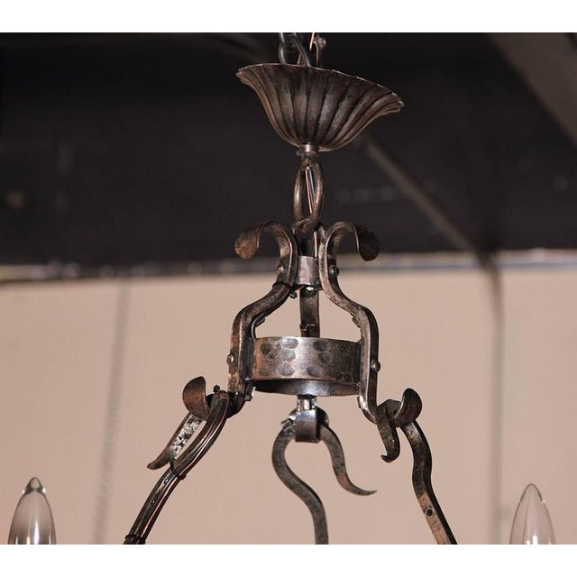Early 20th Century French Wrought Iron Six-Light Chandelier - Image 4 of 10