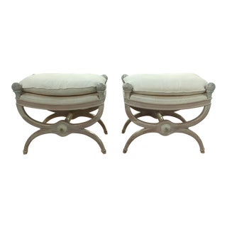 Mid Century Hollywood Regency French Style Benches - Pair