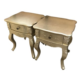 Italian-Style Gold Nightstands - A Pair