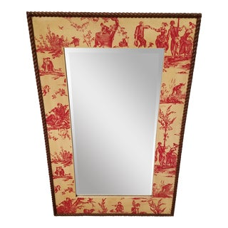 French Inspired Red Toile Beveled Mirror With Wood Rope Trim