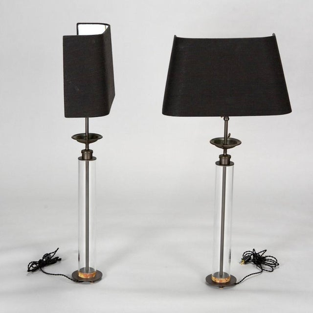 Belgium Custom Glass Column Lamps With Bronze Tazza - A Pair - Image 3 of 7