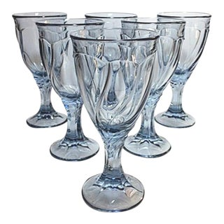 "Vintage ""Sweet Swirl"" Noritake Light Blue Wine Glasses - Set of 6"