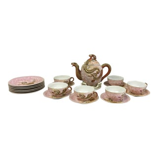 Chinese Porcelain Dragon Tea Set - Set of 21