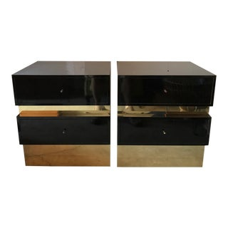 Modern Lacquered & Brass Nightstands - A Pair