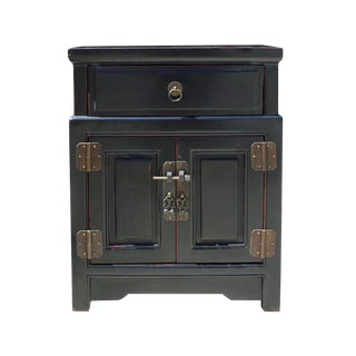 Chinese Black Metal Hardware End Table Nightstand