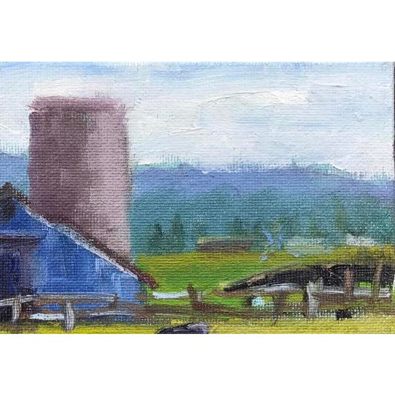"""Petaluma Blue Barn & Cow"" Painting - Image 4 of 11"