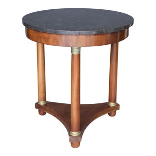 19th Century Empire Style Marble Table on Mahogany Base