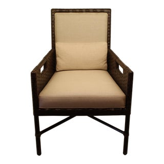 McGuire Thomas Pheasant Woven Leather Dining Arm Chair