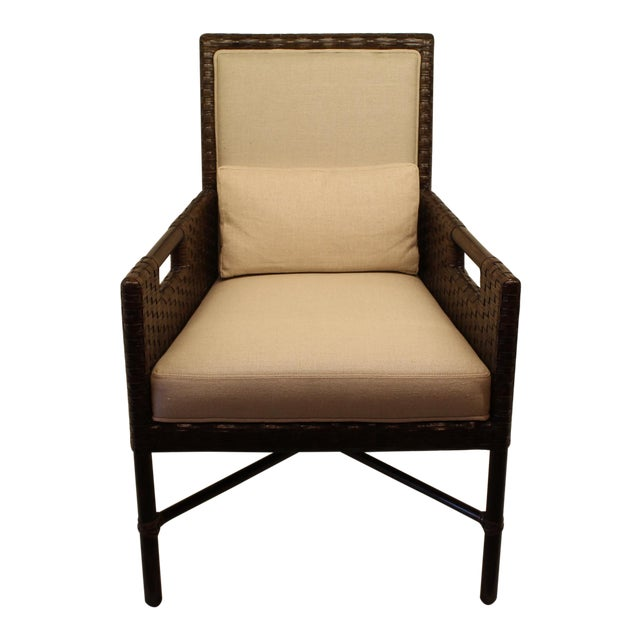McGuire Thomas Pheasant Woven Leather Dining Arm Chair - Image 1 of 7
