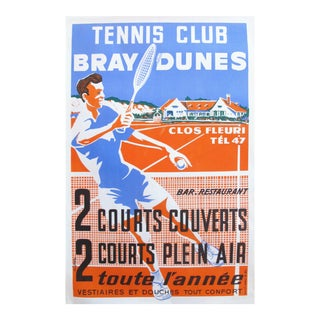 1950s French Vintage Art Deco Poster, Tennis Club Bray Dunes