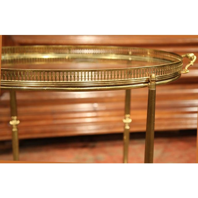 French Oval Brass Bar Cart on Wheels - Image 6 of 8