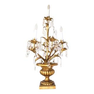 Italian Tole Gilt Crystal Candelabra Girandole Table Lamp